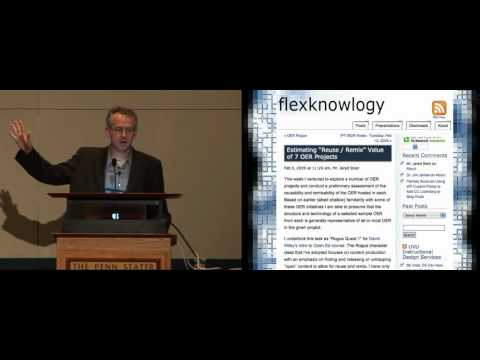 TLT Symposium 2009: David Wiley's keynote on Open Education