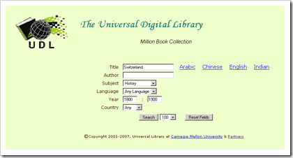 Universal Digital Library Advanced Search