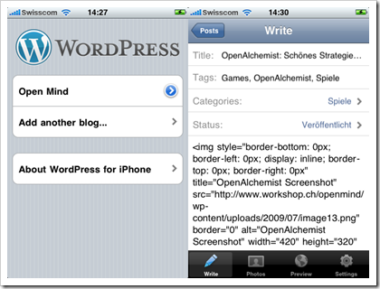 WordPress App Screenshot