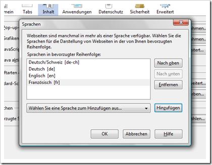 Spracheinstellung im Browser (Firefox)