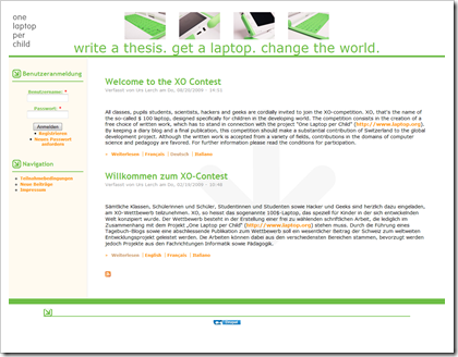 Screenshot: Website des XO-Contest