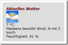 Wettervorhersage mit pitgoogleforecast