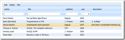 Web-basierte Datentabelle mit DHX Quick Tables