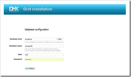 Konfigurationsassistent von DHX Quick Tables