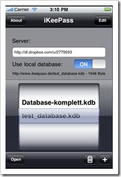 Screenshot: iKeePass