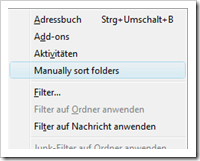 Screenshot: Manually Sort Folders