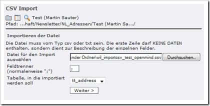 Screenshot: wil_importcsv