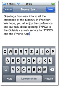 Screenshot: TYPO3 iPhone App (1)