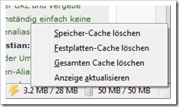 Screenshot: Firefox mit Cache Status