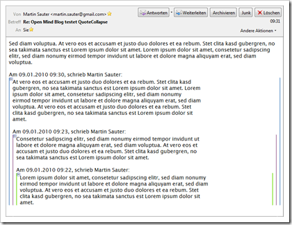 Screenshot: QuoteCollapse für Mozilla Thunderbird