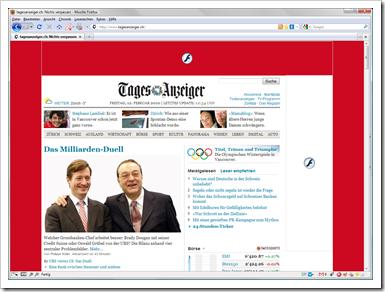 Flashblock für Firefox: Screenshot der Tages-Anzeiger-Website mit deaktivierten Flash-Objekten