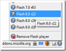 Screenshot: Flash Switcher Addon für Firefox