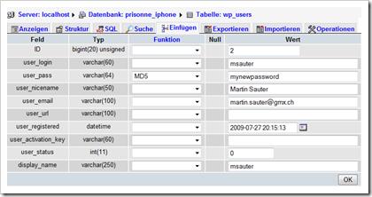 Screenshot: WordPress-Datenbank in phpMyAdmin