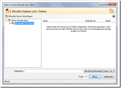 Screenshot: Fehlermeldung des Office Add-in for Moodle