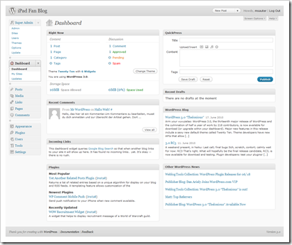 WordPress 3.0 Backend