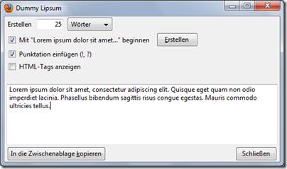 Dummy Lipsum: Blindtextgenerator für Firefox