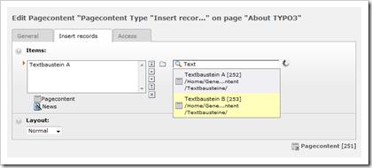 "TYPO3 Pagecontent Type ""Insert Records"""