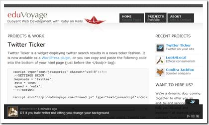 Twitter Ticker für WordPress