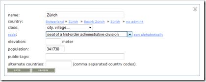 GeoNames: Dialog zur Bearbeitung eines Datensatzes