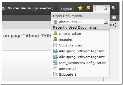 TYPO3: Liste der offenen Dokumente im Backend
