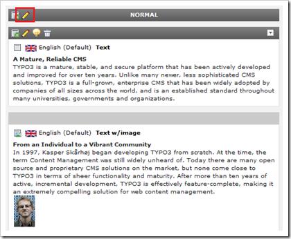 TYPO3: Alle Content-Elemente einer Seite bearbeiten im Page-Modul