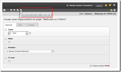 TYPO3: Datensatz speichern und neuen anlegen