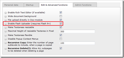 TYPO3: Flash-Uploader aktivieren in den User Settings