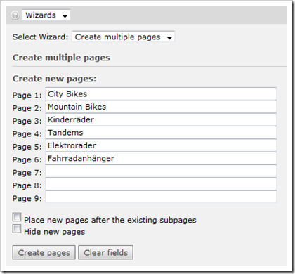 TYPO3: Create multiple pages wizard