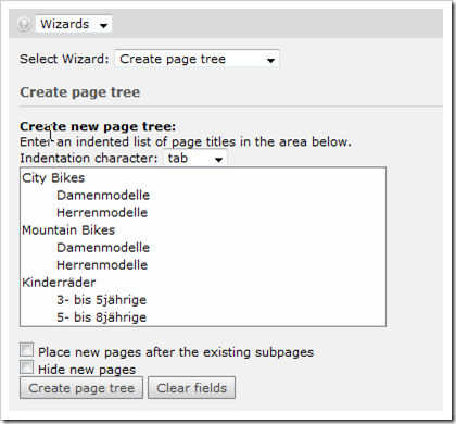 TYPO3: Create page tree wizard