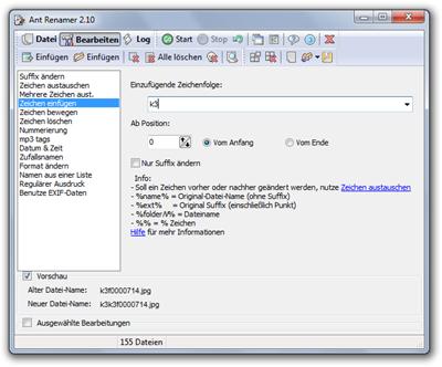 Ant Renamer: Definition der Regeln für den neuen Dateinamen