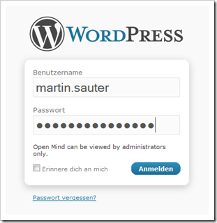 Login im WordPress Frontend
