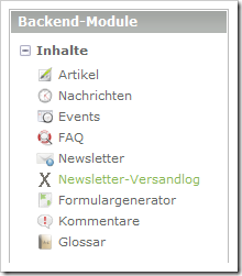 Contao mit Backend-Modul 'Newsletter-Versandlog'
