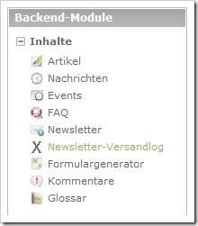 Contao mit Backend-Modul 'Newsletter-Versandlog'