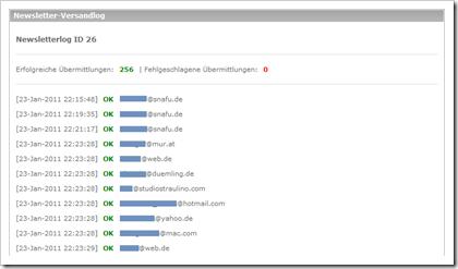 Das Newsletter-Versandlog listet jede einzelne verschickte E-Mail auf