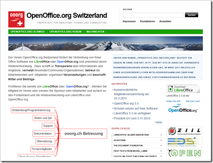 Website des Vereins OpenOffice.org Switzerland