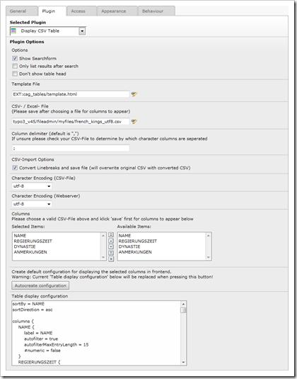 """cag_tables: Konfigurationsmöglichkeiten für das Frontend-Plugin """"Display CSV Table"""""""