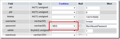 Datensatz der Tabelle be_user (Ausschnitt)