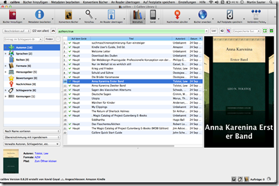 Screenshot: Calibre auf Mac OS