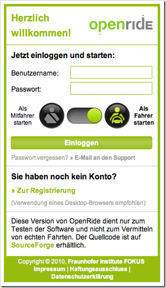 OpenRide Anmeldebildschirm