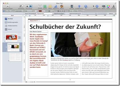 Screenshot von Apple iBooks Author