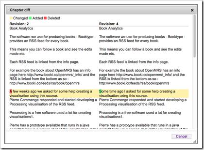 Booktype: Differenzdarstellung beim Versionenvergleich