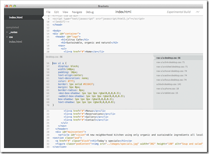 Brackets Web-Editor (Screenshot)
