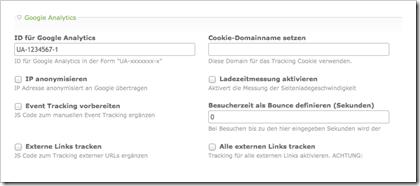 Konfigurationsmöglichkeiten für Google Analytics in Contao