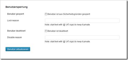 WordPress Plugin User Locker: Erweiterte Einstellungen in den Benutzerkonten