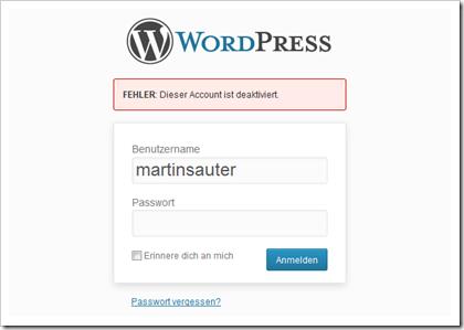 WordPress Plugin User Locker: Fehlermeldung bei einem gesperrten Benutzerkonto