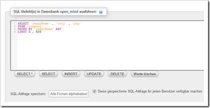 phpMyAdmin: SQL-Abfragen speichern