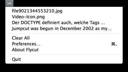 Flycut Menü-Extra: Historie der Inhalte der Mac OS Zwischenablage