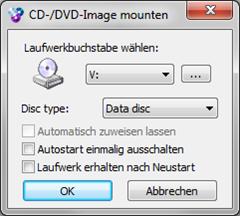 WinCDEmu: Dialog beim Mounten eines ISO Image