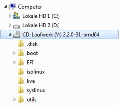 Gemountetes ISO Image im Windows Explorer