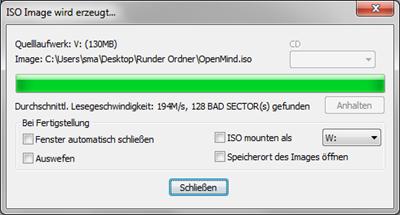 WinCDEmu: Dialog beim Erzeugen eines ISO Image